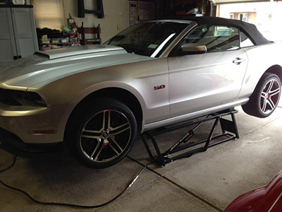 QuickJack Car Lift with Mustang