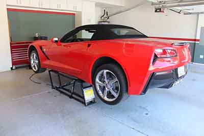 QuickJack Portable Car Lift Red Corvette
