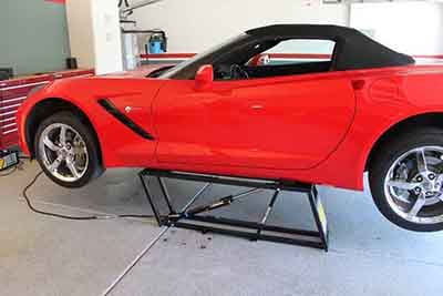 QuickJack Car Lift Red Corvette
